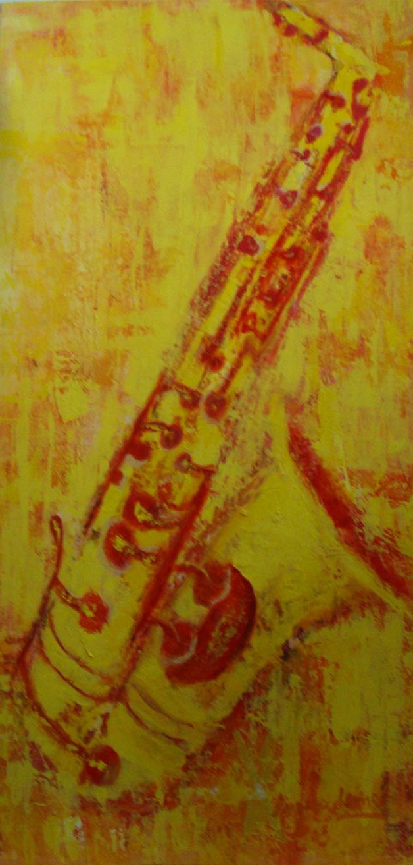 Sax Amarelo 0.50X1.00 - Acrílico sobre tela - 0.50