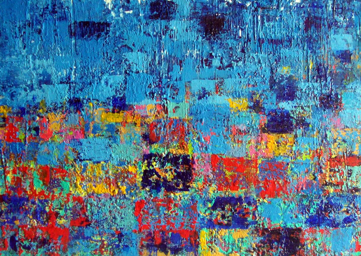 Camadas Interseções e caos 2017 Tamanho: 0.50 x 0.70 Acrílico sobre tela texturizada com cimento