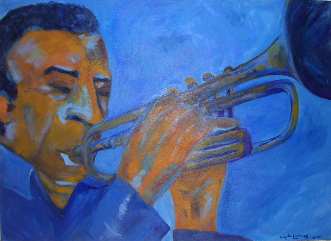 Trompetista Azul Tamanho: 0.70 x 0.50 Acrílico sobre tela – 0.35