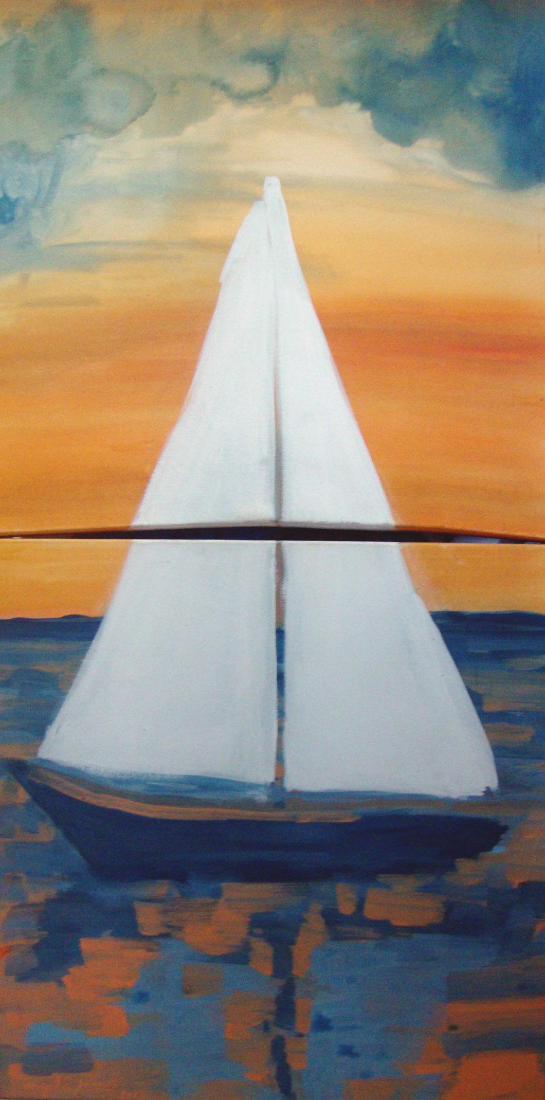 Barco a vela em Búzios - Díptico - 0.60 x 1.20 - Acrílico sobre tela - 0.72