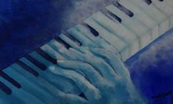 Maos tocando piano pintura Angela Lemos