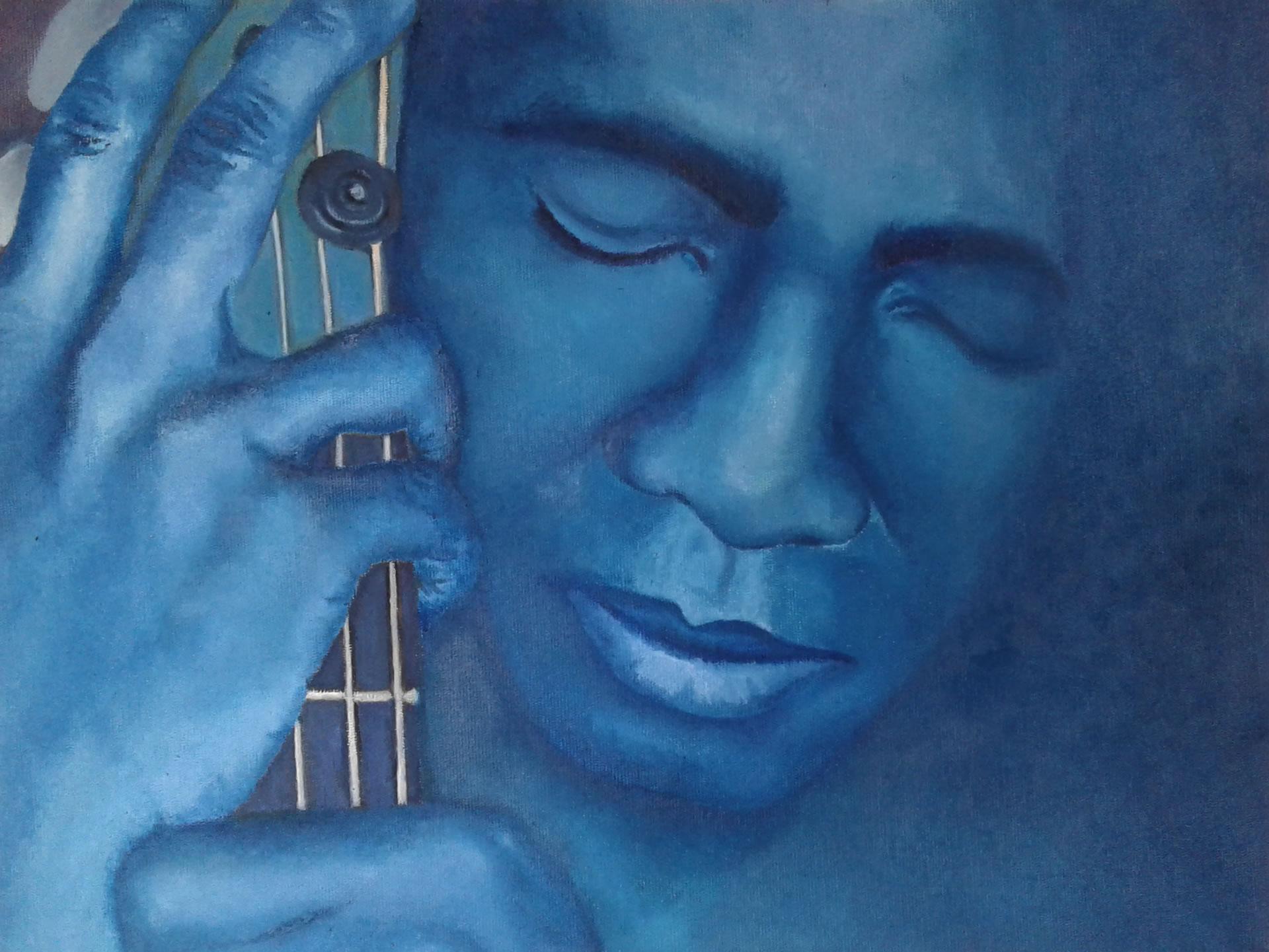Richard Bona pintura oleo sobre tela Angela Lemos