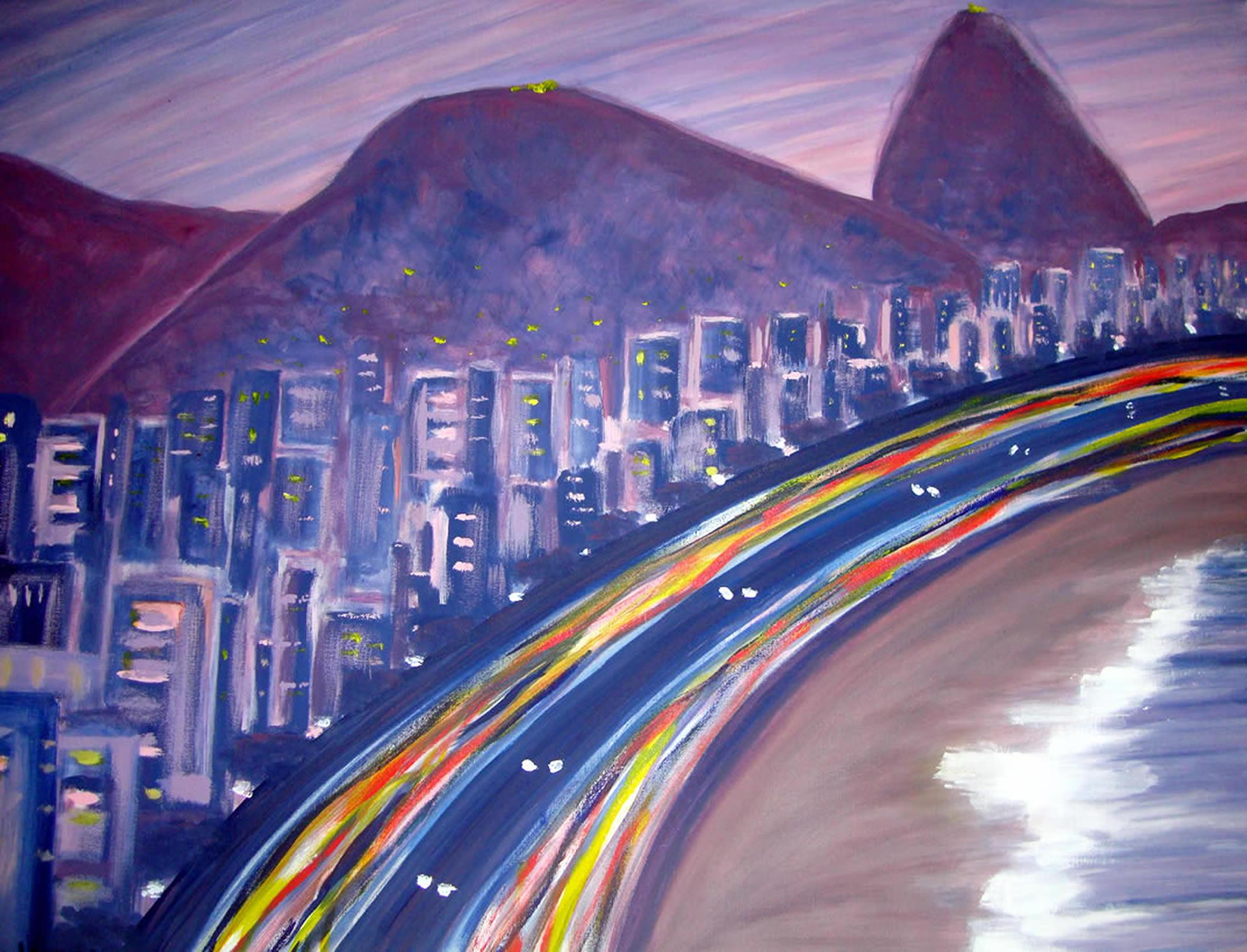 Copacabana Entardecer pintura acrilica angela lemos