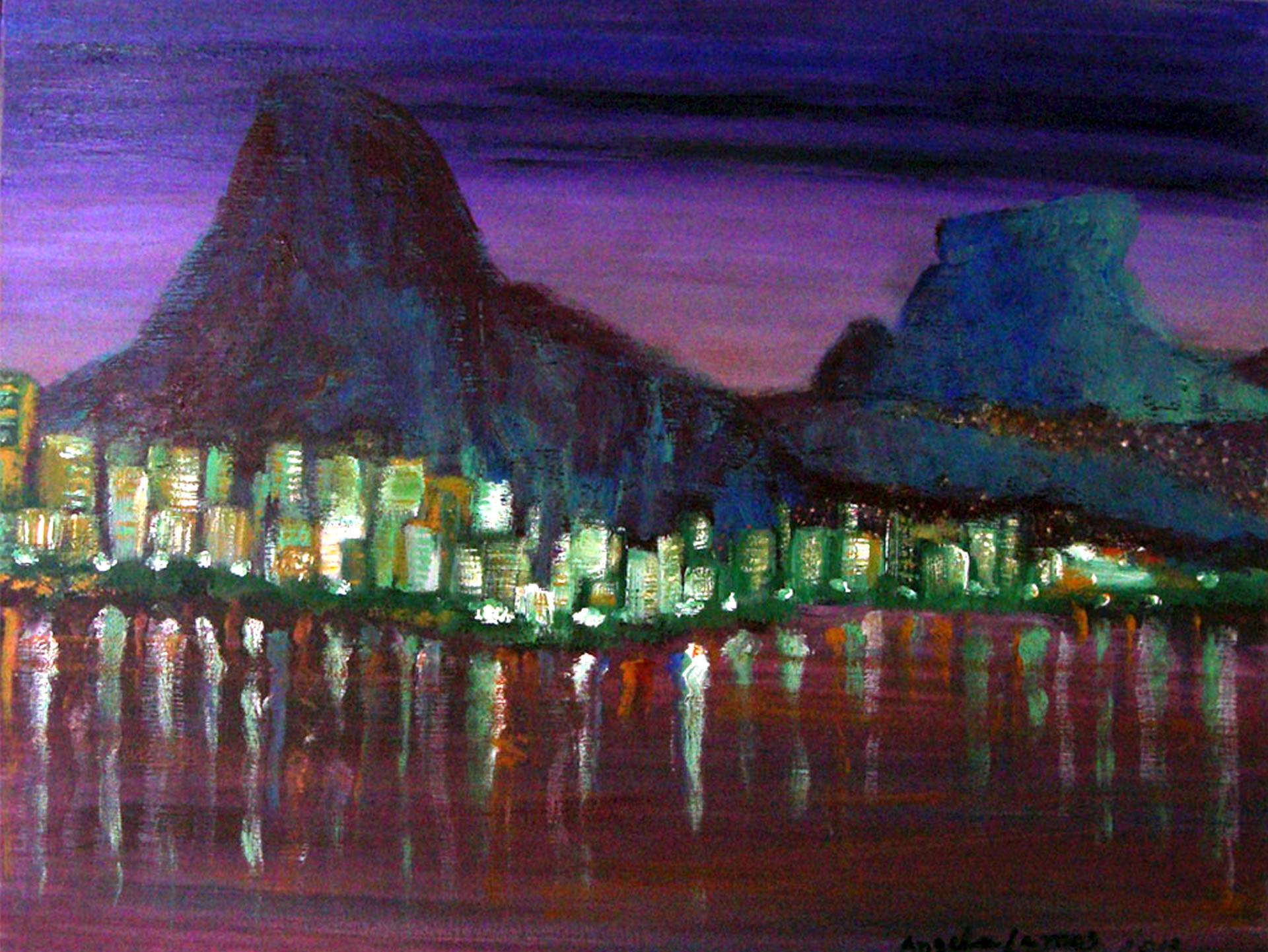 Entardecer na Lagoa pintura acrilica expressionista angela lemos