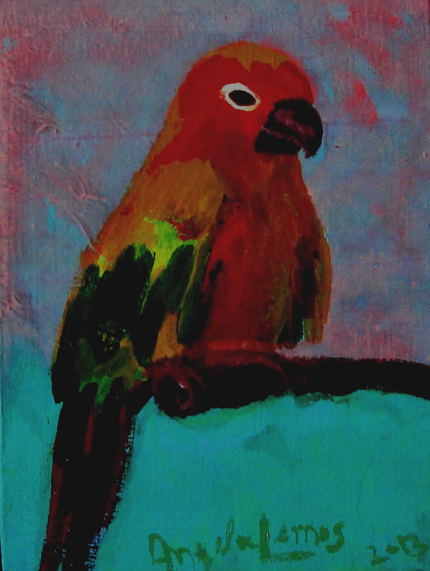 Maritacas na Natureza 2 pintura pássaros Angela Lemos