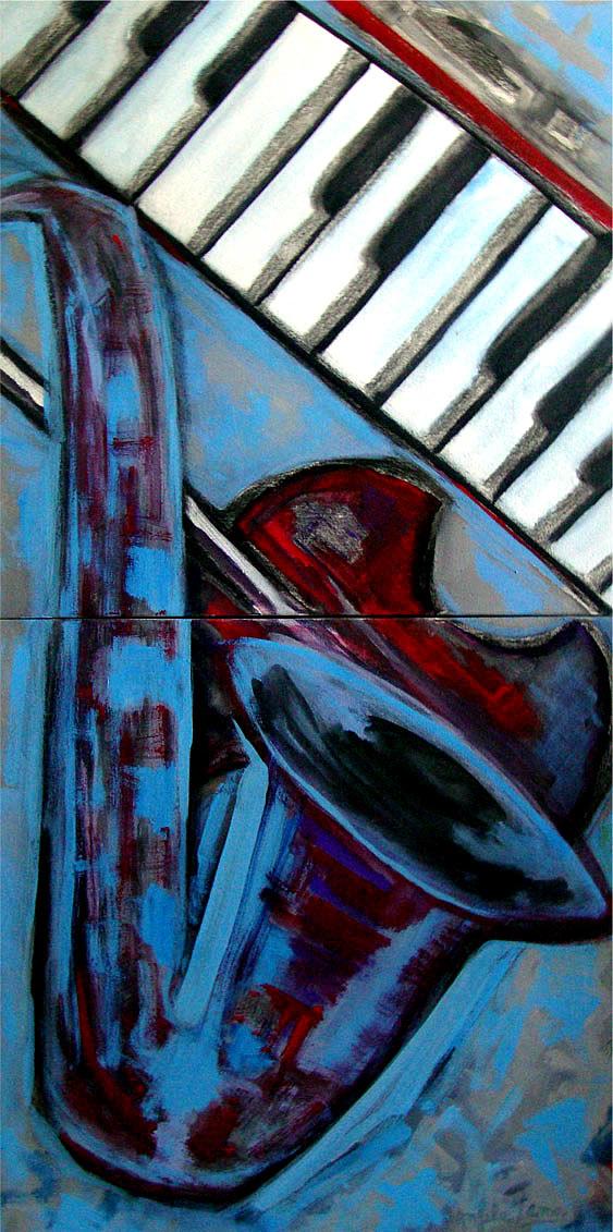 Sax Violino Teclas pintura expressionista Angela Lemos