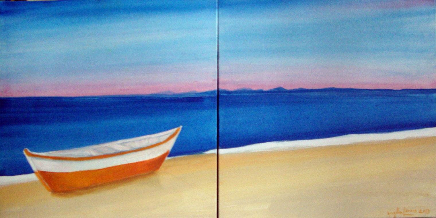 Barco na Praia no Amanhecer de Búzios 0.50X 1.00 - Acrílico sobre tela - 0.50