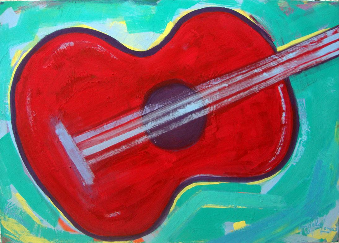 Violao vermelho fundo verde Angela Lemos