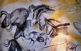 Arte Paleolítica Pintura Rupestre de Cavalos na Caverna Chauvets