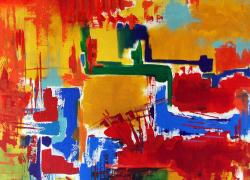 Sinfonia Abstrata Pintura Acrílica de Angela Lemos