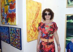 Angela Lemos na inauguração da Meu BB Galeria de Arte Contemporânea