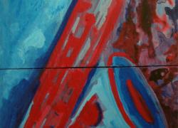 Sax Azul e Vermelho - díptico 0.50X1.00 - Acrílico sobre tela - Angela Lemos