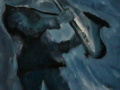 Título: Banda Jazz Saxofonista Azul