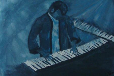 Título: Banda Jazz Tecladista Azul - Técnica: Acrílico sobre tela - Tamanho: 0.30 x 0.40 - Valor: G