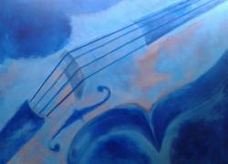 Título: Violoncelo Azul e Rosa - Técnica: Acrílico sobre tela - Tamanho: 0.80 x 1.00 - Valor: X
