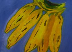 Banana fundo Azul de Angela Lemos