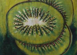 Kiwi no fundo verde de Angela Lemos