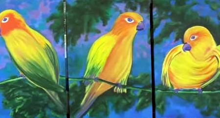 Jandaias na Natureza de Angela Lemos Acrílica sobre tela