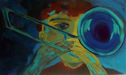 O Trompetista Pintura de Angela Lemos acrílico sobre tela - Artista Carioca