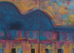 Ao som do Rio Pintura de Angela Lemos acrílico sobre tela - Artista Brasileira