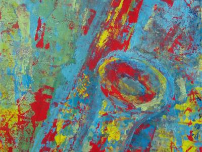 Título: Sax cores primárias - Técnica: Acrílico sobre lona - Tamanho: 0.60 x 0.90 - Valor: V