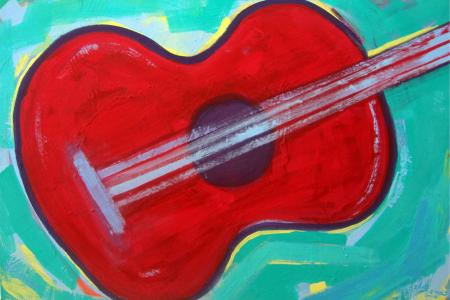 Título: Violão Vermelho Fundo Verde - Técnica: Acrílico sobre tela - Tamanho: 0.80 x 0.90 - Valor: X