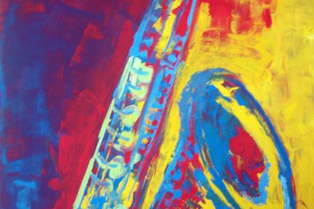 Título: Sax Vermelho e Amarelo – 2015 - Técnica: Acrílico sobre tela - Tamanho: 0.70 x 1.00 - Valor: V