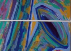 Título: Sax Frenético Díptico - Técnica: Acrílico sobre tela - Tamanho: 0.50 x 1.00 - Valor: 2 i