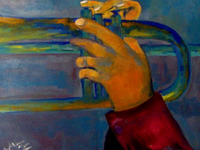 Título: Mãos Tocando Trompete