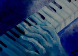 Título: Mãos Tocando Piano