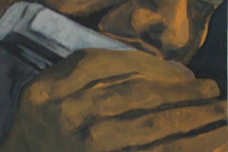 Série: Rostos e Mãos - Título: O Gaitista - Técnica: Acrílico sobre tela - Tamanho: 0.20 x 0.40 - Valor: L