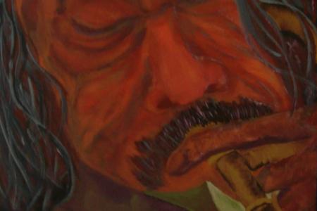 Série: Rostos e Mãos - Título: O Trombonista - Técnica: Acrílico sobre tela - Tamanho: 0.20 x 0.40 - Valor: L