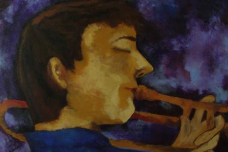Série: Rostos e Mãos - Título: Trombonista Perfil 2012 - Técnica: Acrílico sobre tela - Tamanho: 0.20 x 0.40 - Valor: G (Estudo) - VENDIDO