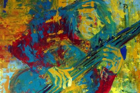 Série: Rostos e Mãos - Título: O Violonista Amarelo 2015 - Técnica: Acrílico sobre tela - Tamanho: 0.90 x 1.50 - Valor: Z