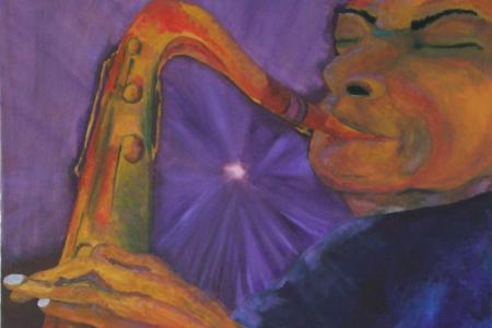 Série: Rostos e Mãos - Título: O Saxofonista - Técnica: Acrílico sobre tela - Tamanho: 0.70 x 0.50 - Valor: V