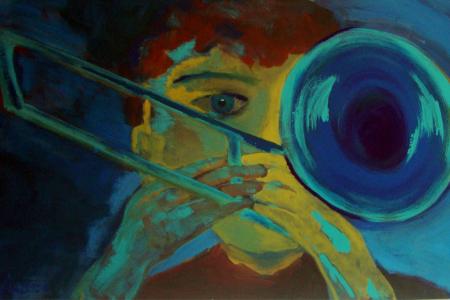 Série: Rostos e Mãos - Título: Trombonista fundo azul - Técnica: Acrílico sobre tela - Tamanho: 0.80 x 0.50 - Valor: V