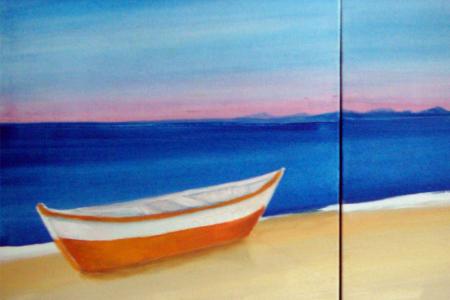 Título: Barco na Praia no Amanhecer de Búzios- Técnica: Acrílico sobre tela (Estudo) - Tamanho: 0.50 x 1.00 - Valor: 2 i
