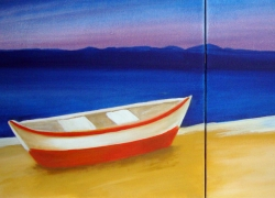 Título: Barco na Praia no Entardecer de Búzios- Técnica: Acrílico sobre tela (Estudo) - Tamanho: 0.50 x 1.00 - Valor: 2 i