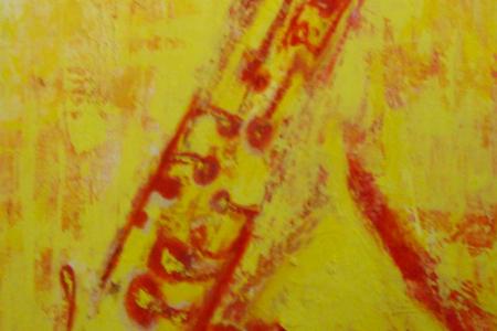 Título: Sax Amarelo – 2015 - Técnica: Acrílico sobre tela - Tamanho: 0.50 x 1.00 - Valor: V
