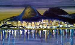 Noite na Lagoa Rodrigo de Freitas pintura acrilica Angela Lemos